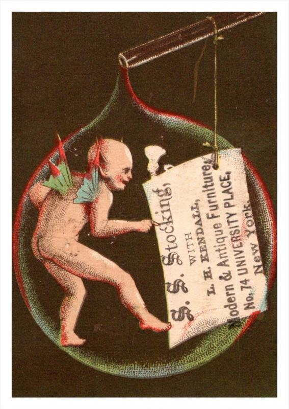 13413 Trade Card NY  City   S.S.Stocking Furniture   Devil in Bubble