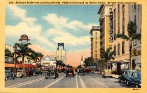 California Beverly Hills Wilshire Boulevard Showing Beverly-Wilshire Hotel an...