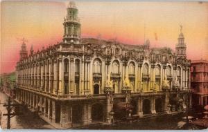 1931 National Theatre, Havana, C uba Hand-Colored Green Stamp 1 cent Gorgas c16
