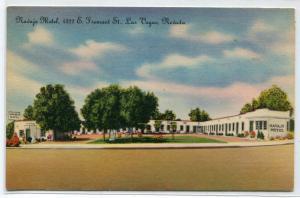 Navajo Motel Fremont Street Las Vegas Nevada linen postcard