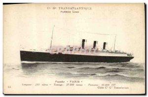 Postcard Old Ship Boat Paris Cie Gle Transatlantique French Line