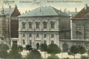 denmark, COPENHAGEN KØBENHAVN, Det Kgl. Danske Musikkonservatorium 1907 Postcard