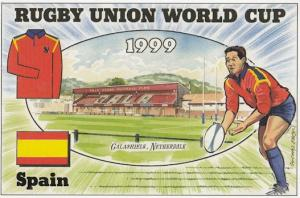Spain Galashiels Netherdale Stadium Map Rugby World Cup Uniform Postcard