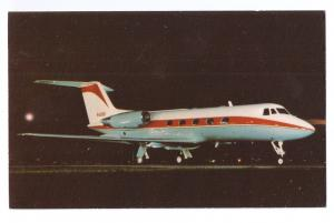 Grumman Gulfstream II Jet Aircraft Aviation Vintage Postcard Airplane Night