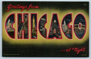 Postcard IL Large Letter Greetings From Chicago at Night Vintage Linen O13