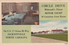 North Carolina Jacksonville Circle Drive Motor Court 1951