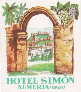Spain Almeria Hotel Simon Luggage Label sk4549