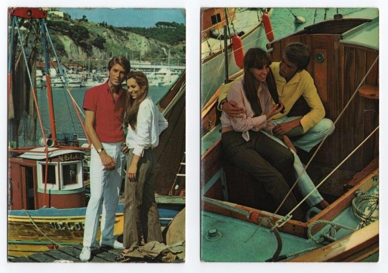 2 POSTCARDS  1960years PIN UP GIRLS ROMANTIC COUPLES MAN LADY & boat boats