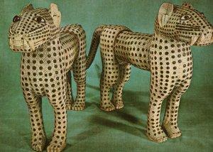 Antiquities Of Benin Nigeria Primitive Art Leopards Postcard