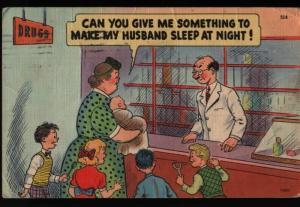 Virginia Beach VA Comic Humor Pharmacist Husband Sleep at Night Postcard B06