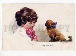 270562 Lovely Girl & PEKINGESE by NASH Vintage Heckscher PC