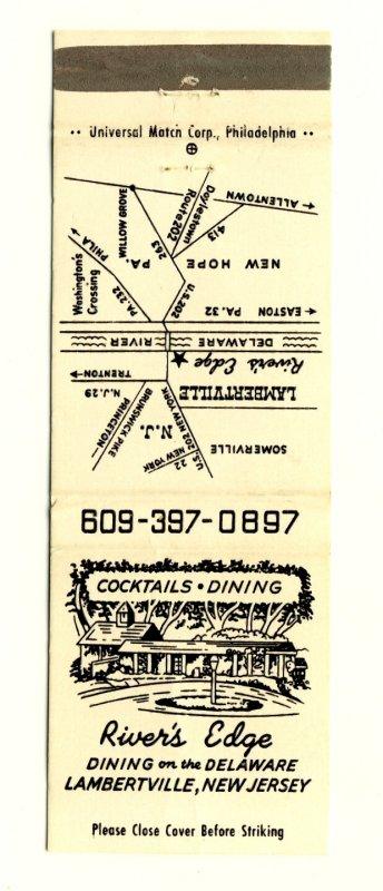 Lambertville,New Jersey/NJ Match Cover,Rivers Edge Restaurant