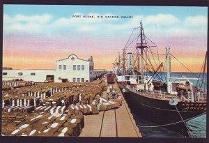 P1583 vintage unused postcard port scene ship loading cotton rio grande texas