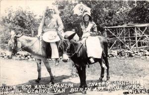 Arkansas AR Postcard VAN BUREN Bob Burns AUNT BOO Grandpa Snazzy Mules RPPC