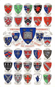 Vintage Oxford University Postcard, Arms of the Colleges of Oxford B89