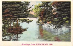 Graceham Maryland River Waterfront Greeting Antique Postcard K80481