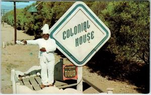 OXNARD, CA   COLONIAL HOUSE Sign & BLACK CHEF  c1950s Roadside  Postcard