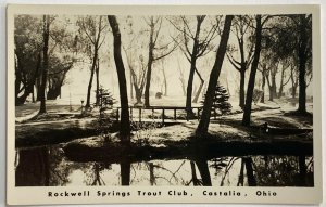 Old WB Real Photo Postcard RPPC Rockwell Springs Trout Club, Castalia, OH Unused