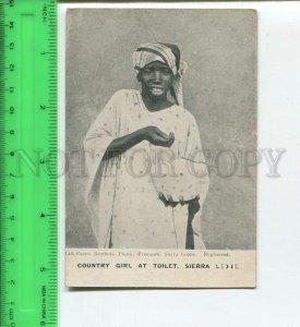 439698 Sierra Leone country girl at toilet Vintage postcard