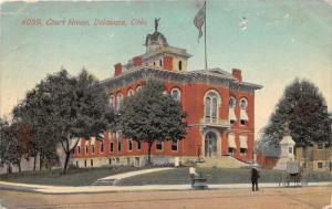 Delaware Ohio~County Court House~Man @ Fountain~Civil War Monument~1912 Postcard