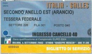 69448 -  BIGLIETTO PARTITA CALCIO 2004: ITALY /  GALLES  Campionato Europeo