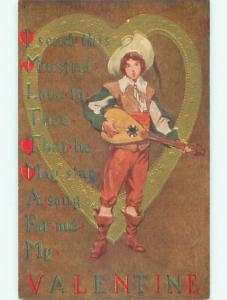 Pre-Linen valentine MAN IN WESTERN COWBOY HAT PLAYS MANDOLIN GUITAR MUSIC J0585
