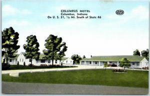 1950s Columbus, Indiana Postcard COLUMBUS MOTEL Kropp Linen Route 31 Roadside