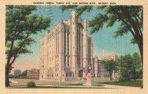 Postcard Masonic Temple Temple Avenue Detroit Michigan