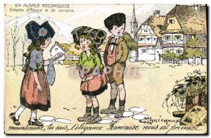 Old Postcard Fantasy Illustrator Army in Alsace for Children & # 39Alsace and...