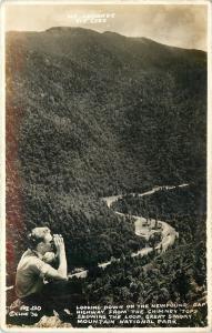 Mount Le Conte TN~Newfound Gap Highway @ Chimney Tops~Man Binoculars~1930s RPPC