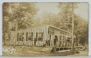 RPPC Maryland Lunch Room Mr Bowers on Bench Postcard Sign c1900s Postcard O5