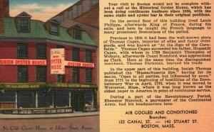Boston, Massachusetts, MA, Union Oyster House, Linen Vintage Postcard g8184