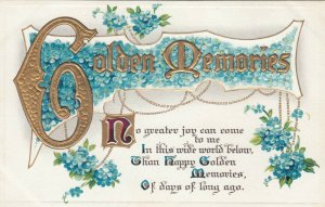 Golden Memories, 1900-10s; Poem, blue flowers