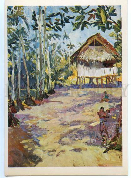 153516 OCEANIA Papua New Guinea Village Bongu after tropical