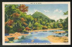 Doubletop Mountain and Sourdnahunk Stream Maine Vintage Linen Postcard