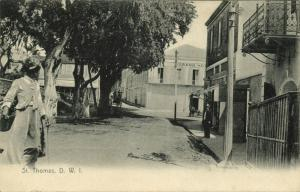 Danish West Indies, St. Thomas, D.W.I., Street Scene with Grand Hotel (1910s)