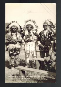 Vintage Real Picture Postcard Native American Indian Chiefs North Wisconsin RPPC