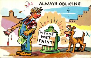 Humour Man Painting Fire Hydrant Please Wet Paint Dog Always Obliging