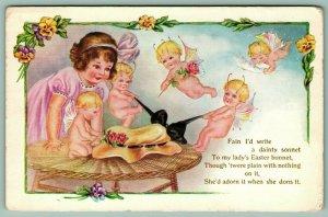 Easter Fantasy~Antenna Bat Wing Fairies Adorn Girl's Bonnet~Emboss~Whitney Made