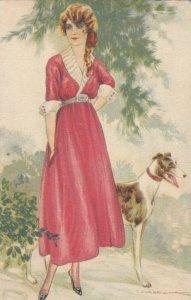 Art Deco Portrait , CORBELLA , Woman & Dog , 1917