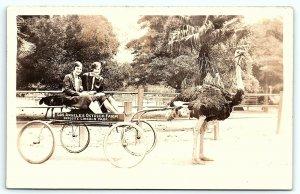 VTG Postcard Real Photo RPPC California Ostrich Farm Los Angeles Ladies Park B1
