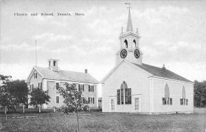 Dennis Massachusetts Church And School Street View Antique Postcard K89623