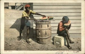Black Americana - Boy Steals Watermelon From Friend Detroit Publishing PC