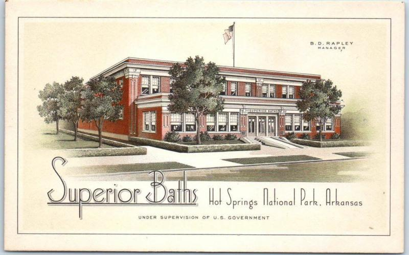 Hot Springs National Park Arkansas Postcard SUPERIOR BATHS LACCO St Louis Unused