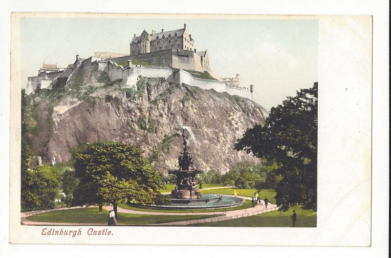 Scotland UK Edinburgh Castle Ross Fountain View Vtg Postcard