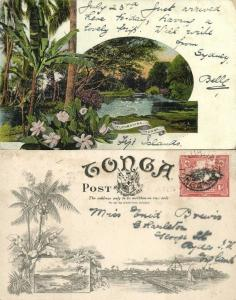 tonga islands, TAFUMAHINA, Partial View (1899) Pre-Printed Stamp