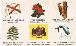 Alabama State Flag Flower Bird Tree Fish & Coat Of Arms