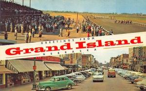 Grand Island NE Storefronts Woolworth's Horse Race Track Postcard