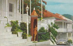 Old Danish sentry box in front of Government House, St. Thomas, U. S. Virgin ...