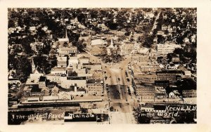 LPS94 Keene New Hampshire Widest Paved Main Street in the World Aerial View RPPC